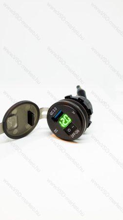 Autós 12V 24V beépíthető QC 3.0 USB töltő, autós voltmérő, telefon töltő, Zöld