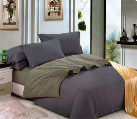 3 részes 2 színű pamut ágynemű, ágyneműhuzat garnitúra Szürke