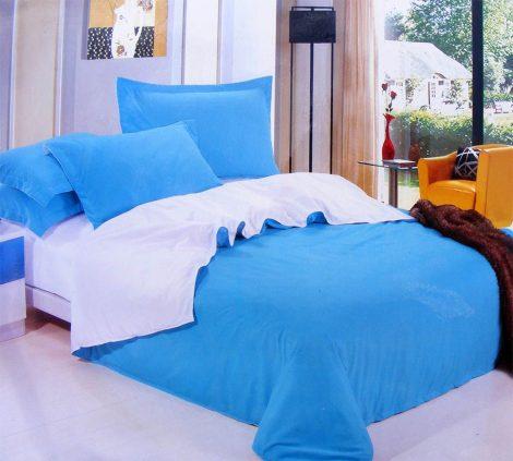 3 részes 2 színű pamut ágynemű, ágyneműhuzat garnitúra Kék