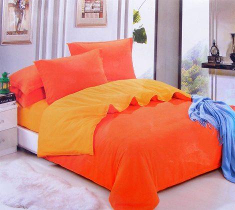 3 részes 2 színű pamut ágynemű, ágyneműhuzat garnitúra Narancs