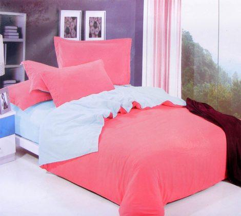3 részes 2 színű pamut ágynemű, ágyneműhuzat garnitúra Pink
