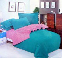 3 részes 2 színű pamut ágynemű, ágyneműhuzat garnitúra kékes zöld