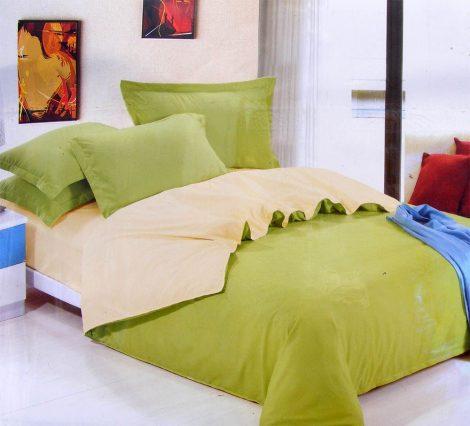 6 részes 2 színű pamut ágynemű, ágyneműhuzat garnitúra Zöld bézs