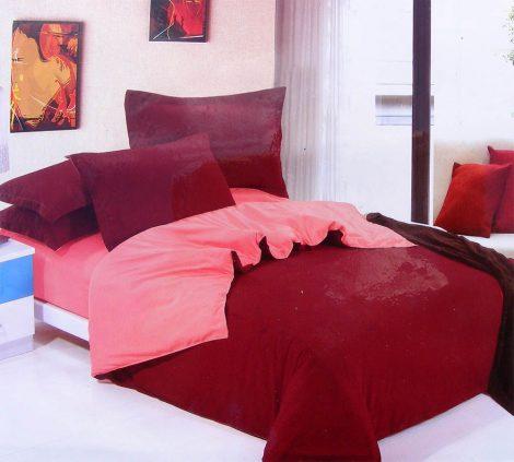 6 részes 2 színű pamut ágynemű, ágyneműhuzat garnitúra Bordó rózsaszín