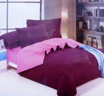 6 részes 2 színű pamut ágynemű, ágyneműhuzat garnitúra Lila Rózsaszín