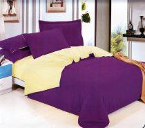6 részes 2 színű pamut ágynemű, ágyneműhuzat garnitúra Lila bézs