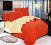 6 részes 2 színű pamut ágynemű, ágyneműhuzat garnitúra Narancssárga bézs