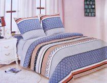 6 részes Flanel ágyneműhuzat garnitúra, flanel ágynemű, csíkos kék és szürke