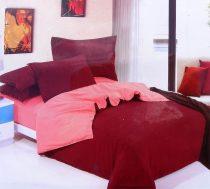 7 részes 2 színű pamut ágynemű, ágyneműhuzat garnitúra Bordó rózsaszín