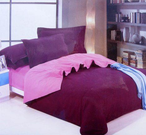 7 részes 2 színű pamut ágynemű, ágyneműhuzat garnitúra Lila rózsaszín