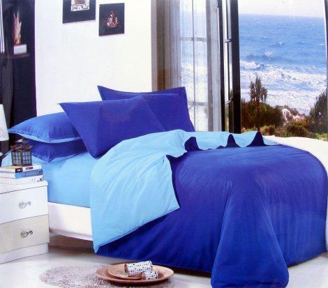 7 részes 2 színű pamut ágynemű, ágyneműhuzat garnitúra sötétkék világoskék
