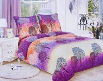 7 részes Flanel ágyneműhuzat garnitúra, lila erdős