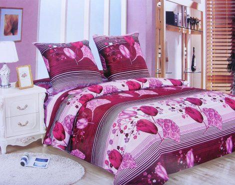7 részes Flanel ágyneműhuzat garnitúra, pink csíkos virágos