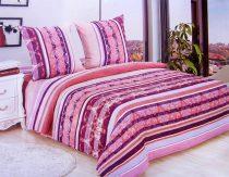 7 részes Flanel ágyneműhuzat garnitúra, pink barack csíkos
