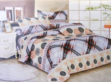 7 részes ágynemű garnitúra, bézs és lila csíkos