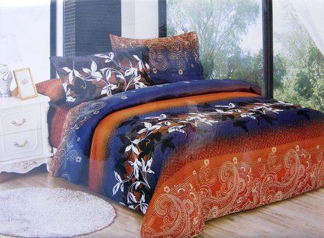 7 részes ágynemű garnitúra, narancssárga virág és absztrakt