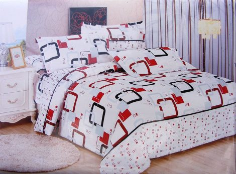 7 részes ágynemű garnitúra, fehér piros kockás