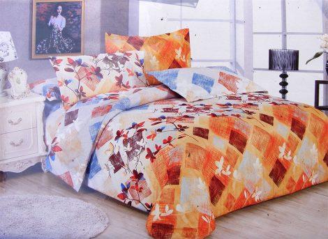 7 részes ágynemű garnitúra, narancssárga kockás, virágos