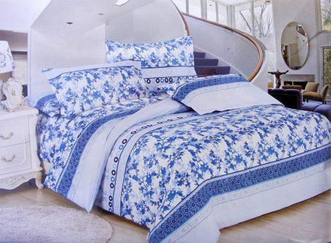 7 részes ágynemű garnitúra, kék apró virágos