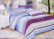 7 részes ágynemű garnitúra, kék lila csíkos
