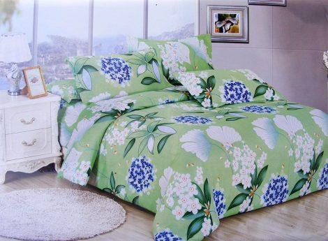 7 részes ágynemű garnitúra, zöld virágmintás