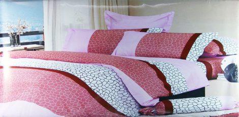 7 részes ágyneműhuzat garnitúra lila rózsaszín drapp