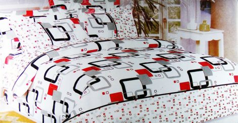 7 részes ágyneműhuzat garnitúra, fehér fekete kockás