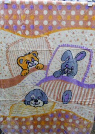 Babapléd, bébi mintás gyerek ágytakaró pléd, barack kisállatos, 100x140 cm