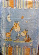 Babapléd, bébi mintás gyerek ágytakaró pléd, kék zsiráf 100x140 cm