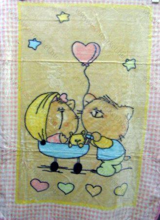 Babapléd, bébi mintás gyerek ágytakaró pléd, rózsaszín cicás 100x140 cm