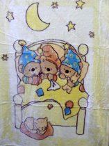 Babapléd,  mintás gyerek ágytakaró pléd, sárga macis 100x140 cm