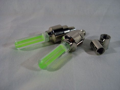 Bicikli, motor, kerékpár, szelep PÁRBA világító LED Zöld