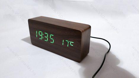 Design asztali LED óra, hang és érintés vezérelt LED óra, zöld