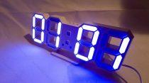 Design asztali LED óra, LED digitális óra, hőmérő, Kék digit kijelzős