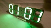 Design asztali LED óra, LED digitális óra, hőmérő, Zöld digit kijelzős