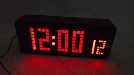 Design asztali LED óra, Nagyméretű fa LED digitális óra