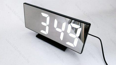 Design asztali LED óra, tükrös asztali LED óra, fehér LED
