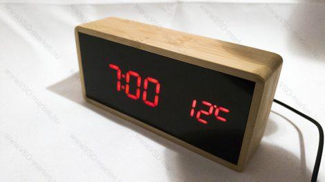 Design asztali LED óra, hang és érintés vezérelt fekete LED óra, piros