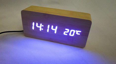 Design asztali LED óra, hang és érintés vezérelt LED óra, kék