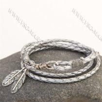 Divatos, elegáns fonott bőr karkötő, fonott bőr nyaklánc, toll karkötő, Ezüst