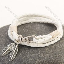Divatos, elegáns fonott bőr karkötő, fonott bőr nyaklánc, toll karkötő, Fehér