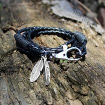 Divatos, elegáns fonott bőr karkötő, fonott bőr nyaklánc, toll karkötő, Fekete