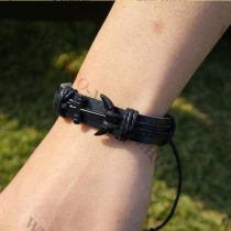 Karkötő, divatos fekete horog, fekete Anchor, vastag