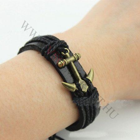 Karkötő, divatos bronz horog, fekete Anchor, vastag