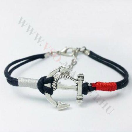 Karkötő fém, divatos horgony, fekete Anchor, piros és ezüst