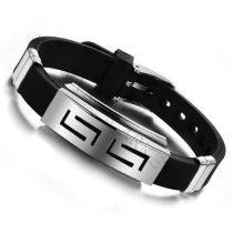 Szilikon szíjas, fekete fém csatos, divatos unisex karkötő
