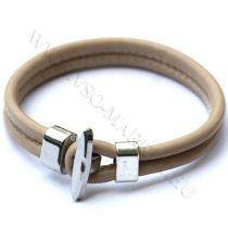 Karkötő, Unisex divatos, elegáns vastag bőr karkötő Cappuccino