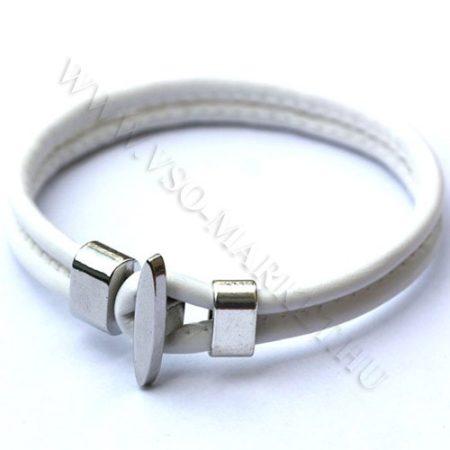 Karkötő, Unisex divatos, elegáns vastag bőr karkötő Fehér