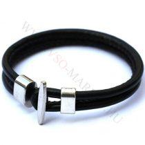 Karkötő, Unisex divatos, elegáns vastag bőr karkötő Fekete