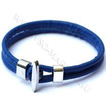 Karkötő, Unisex divatos, elegáns vastag bőr karkötő Kék